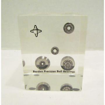 BARDEN PRECISION BALL BEARINGS ENCASED IN ACRYLIC LUCITE CUBE PAPERWEIGHT