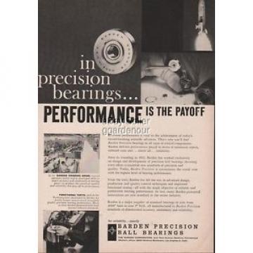 1960 Barden Precision Ball Bearings Danbury CT Grinding Room Photo Ad